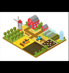 rural farm 3d isometric template concept with mill vector image