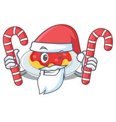 santa with candy spaghetti character cartoon style vector image