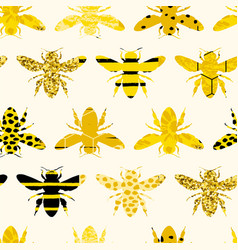 Seamless geometric pattern with bee modern vector