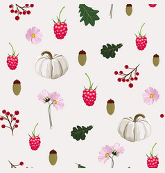 seamless pattern with autumn flowers herbs oak vector image