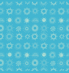 seamless pattern with doodle sun on blue vector image
