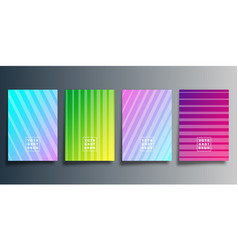set colorful gradient cover with line design vector image