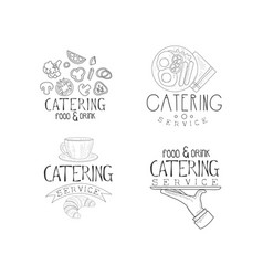 Set of emblems for catering companies food vector