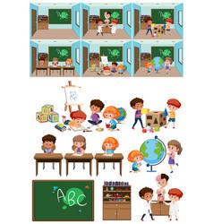 Set of kids in classroom vector