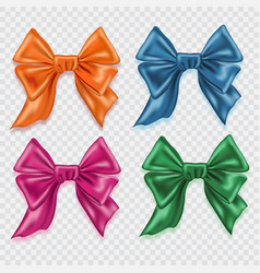 set of realistic colorful satin bows isolated on vector image