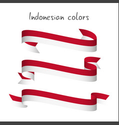 Set of three modern colored indonesian ribbon vector