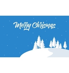 Silohouette of snow and tree christmas vector