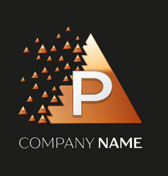 Silver letter p logo symbol in the triangle shape vector