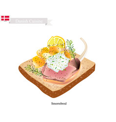 Smorrebrod with roasted lamb the national dish of vector