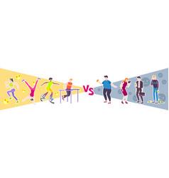 Sport vs lazy design concept vector