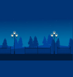 Street lamp on garden scenery silhouettes vector