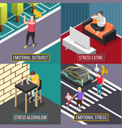 Stress people isometric concept vector