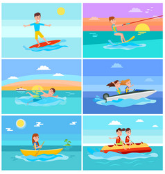 summer activities set seascape vector image