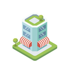 Supermarket building isometric 3d icon vector