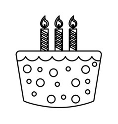 sweet cake birthday icon vector image