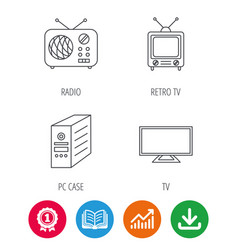 Tv pc case and retro radio icons vector