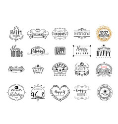 typographic badges - happy holidays on basis vector image
