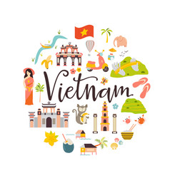 vietnam cartoon banner travel vector image