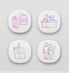 Volunteering app icons set altruistic activity vector