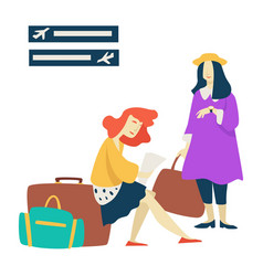 waiting room airport women with baggage flight vector image