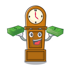 With money grandfather clock mascot cartoon vector