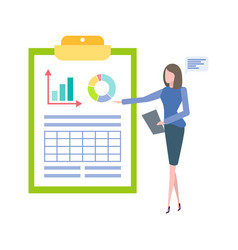 woman pointing on diagram at flipchart isolated vector image