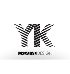 yk y k lines letter design with creative elegant vector image