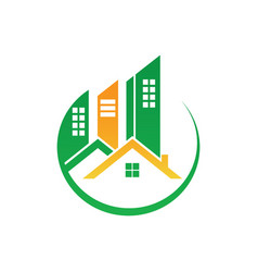 circle home building cityscape logo image vector image vector image