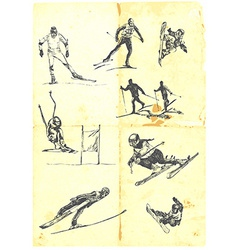 Collection of alpine skiing vector