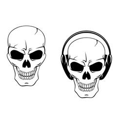 Danger skull in headphones vector image