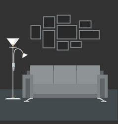 gray interior living room vector image