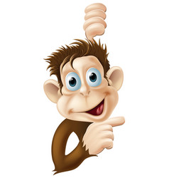 happy cartoon monkey pointing vector image vector image