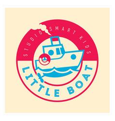kids club logo with little boat cute kindergarten vector image