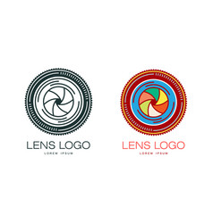 two variants of photo camera lens logo template vector image