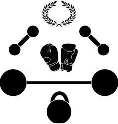 weights and boxer gloves third variant vector image vector image