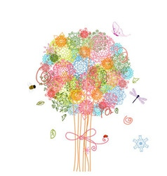 arabesque tree background vector image