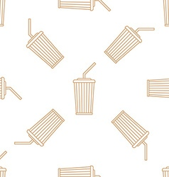cola paper cup straw outline seamless pattern vector image
