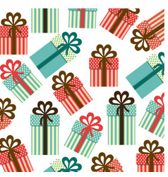 colorful background pattern of gift boxes with vector image vector image