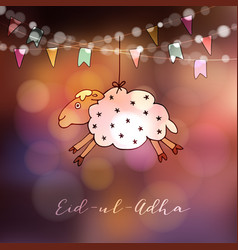eid-ul-adha greeting card with hand drawn sheep vector image vector image