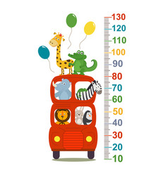 growth measure with animals in london red bus vector image vector image