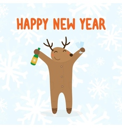 Happy new year deer with drink vector image