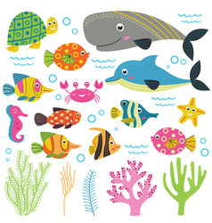 set of isolated with animals sea part 2 vector image