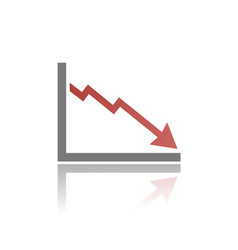 bankruptcy chart icon with reflection on white vector image