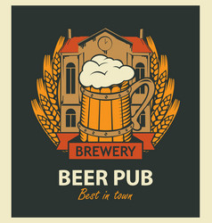 beer pub label with brewery building and beer mug vector image vector image