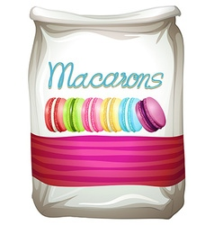 Colorful macarons in bag vector image vector image