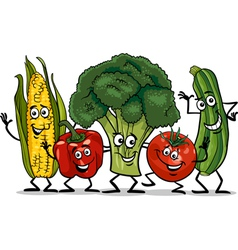 comic vegetables group cartoon vector image vector image