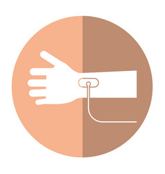 hand transfusion drop shadow vector image vector image