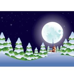 Night winter landscape2 vector