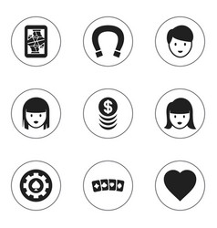 set of 9 editable gambling icons includes symbols vector image vector image