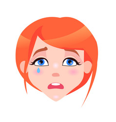 Woman crying face with pink cheeks and tear vector